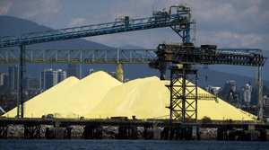 Sulfur Pile at port in BC Canada